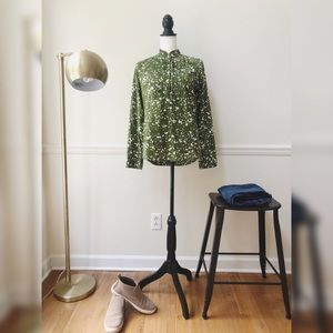 J Crew green patterned top
